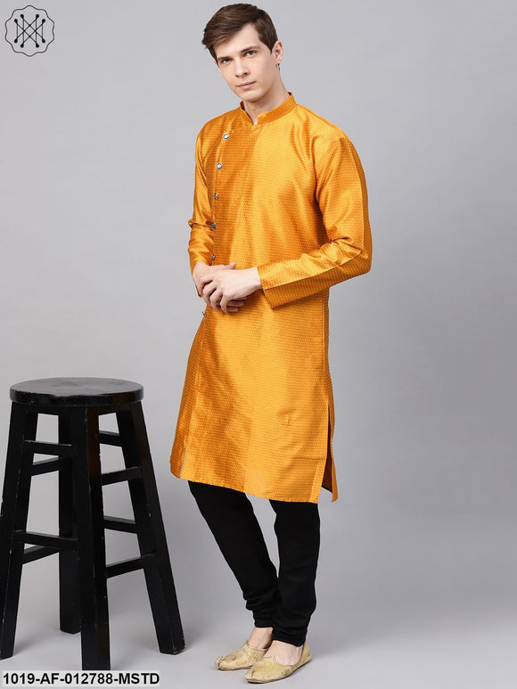 Silk Blend Mustard Kurta & Black Churidar Pyjama Set