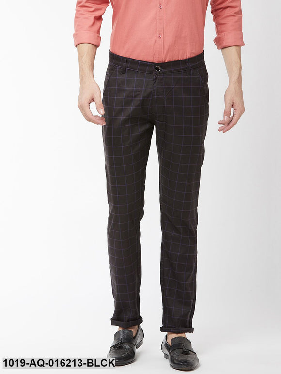 Men's Cotton Blend Black & Blue Checked Formal Trousers