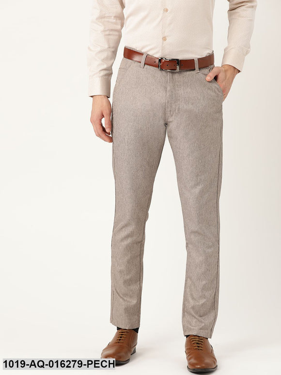 Men's Cotton Blend Peach Formal Trousers