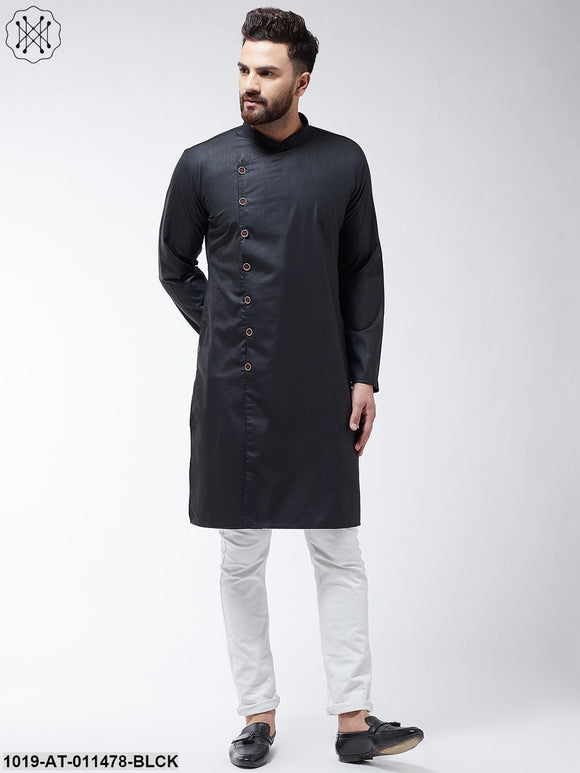 Cotton Black Solid Only Long Kurta