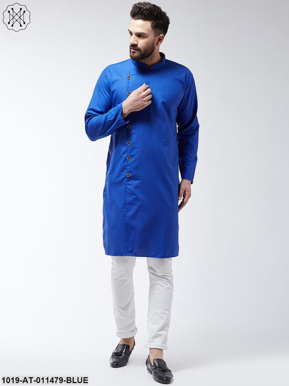 Cotton Royal Blue Solid Only Long Kurta