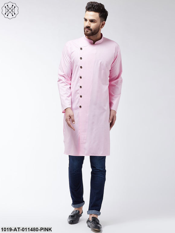 Cotton Pink Solid Only Long Kurta