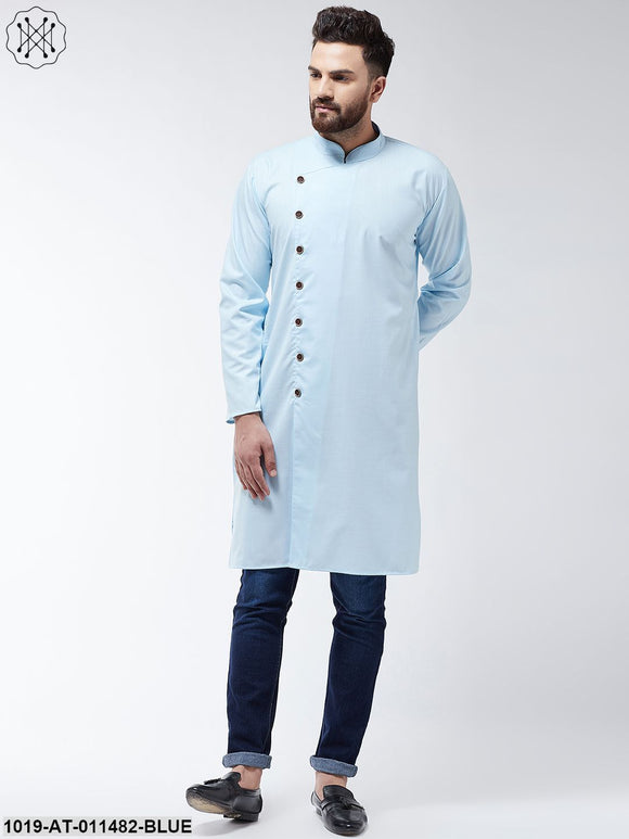 Cotton Sky Blue Solid Only Long Kurta