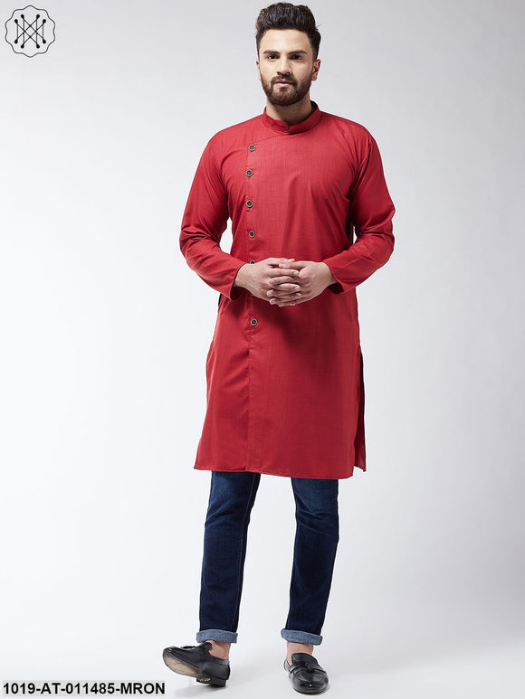 Cotton Maroon Solid Only Long Kurta