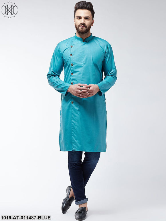 Cotton Peacock Blue Solid Only Long Kurta