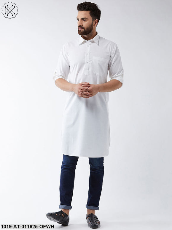 Cotton Off White Solid Pathani Only Long Kurta
