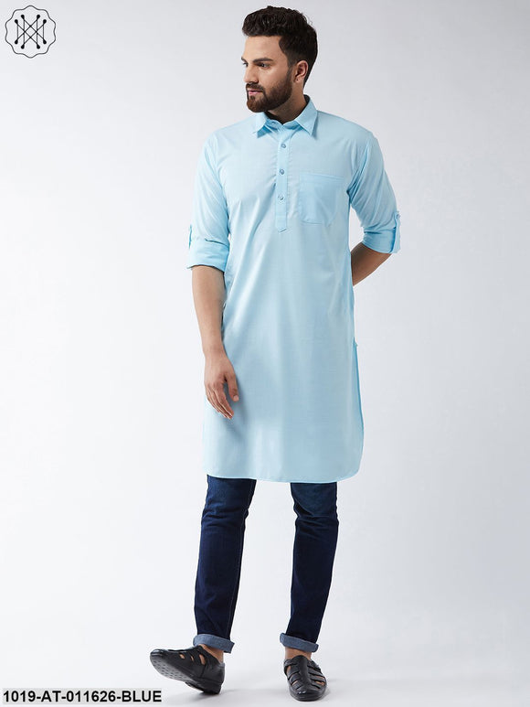 Cotton Sky Blue Solid Pathani Only Long Kurta