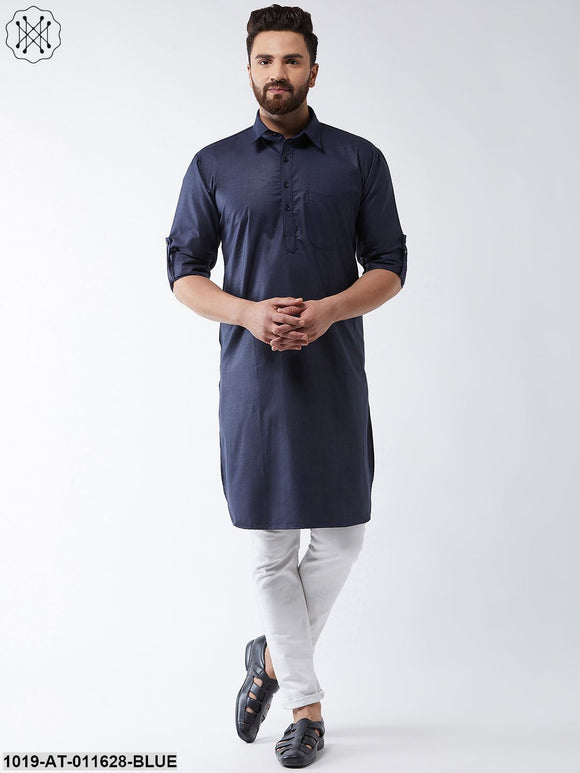 Cotton Navy Blue Solid Pathani Only Long Kurta