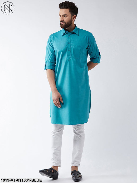 Cotton Peacock Blue Solid Pathani Only Long Kurta