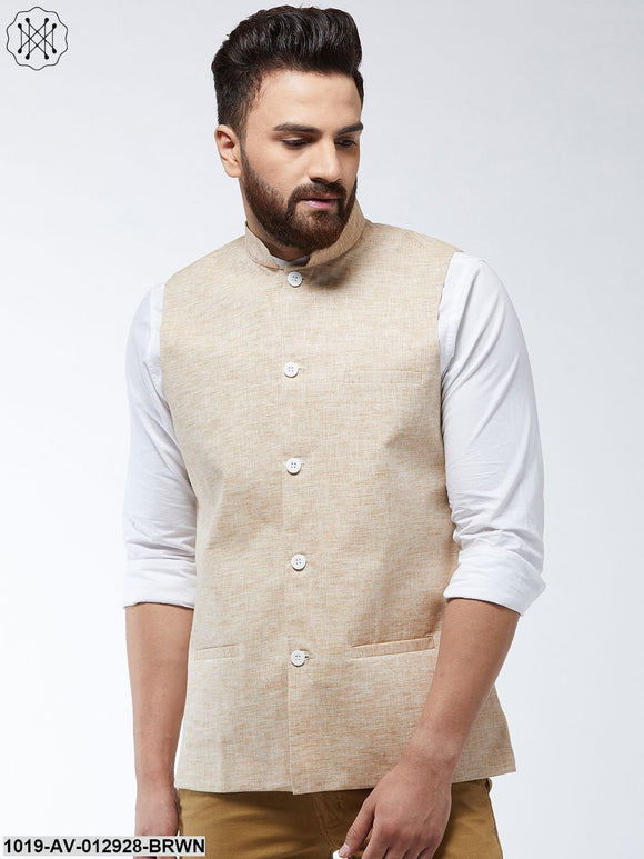 Cotton Linen Blend Light Brown Nehru Jacket