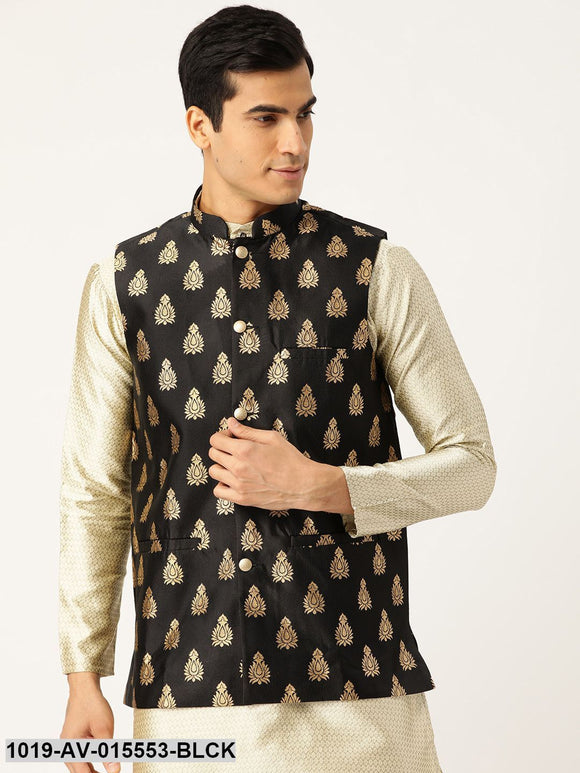 Men's Silk Blend Black & Gold Self Design Nehru Jacket