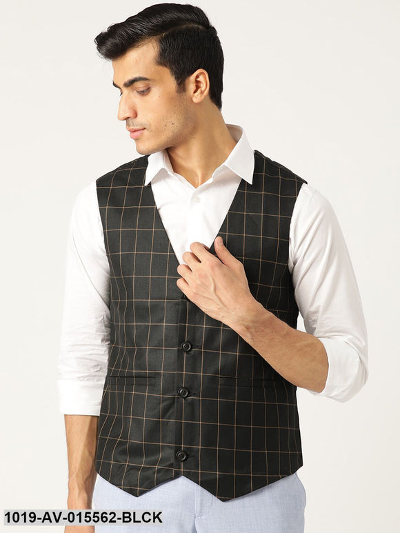 Men's Cotton Blend Black & Mustard Checked Waistcoat