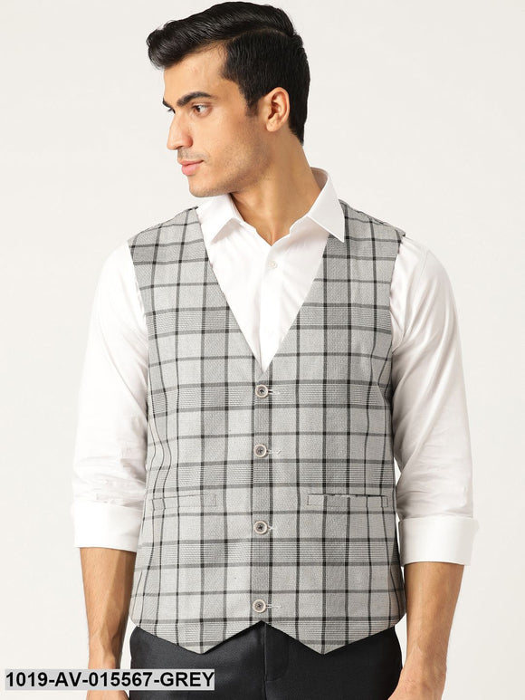 Men's Cotton Blend Grey & Black Checked Waistcoat