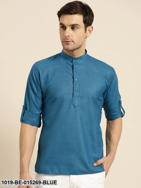 Men's Cotton Peacock Blue Solid Short Kurta