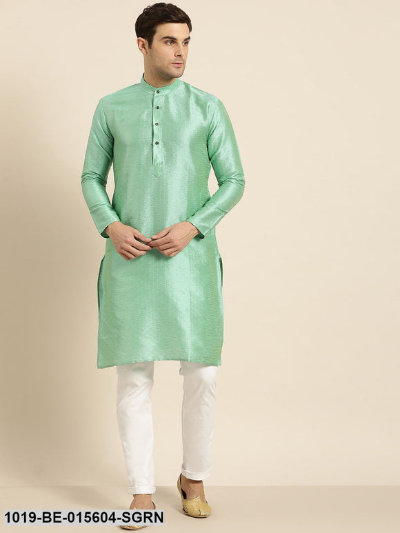 Men's Silk Blend Sea Green Self Design Only Kurta