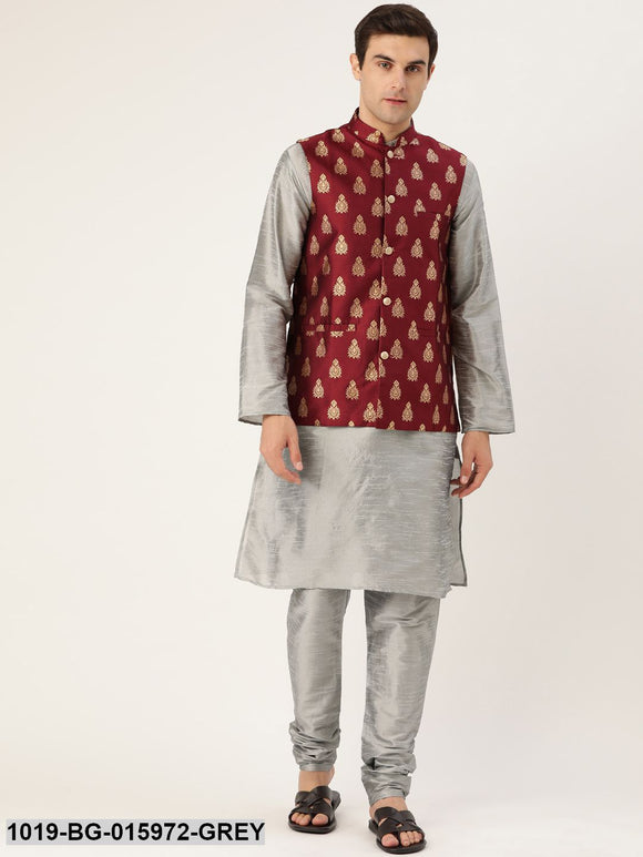 Men's Silk Blend Grey Kurta Pyjama & Maroon Nehru jacket Combo