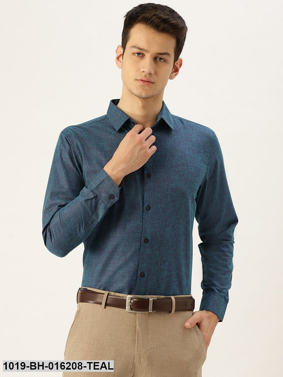 Men's Cotton Linen Teal Blue Solid Formal Shirt