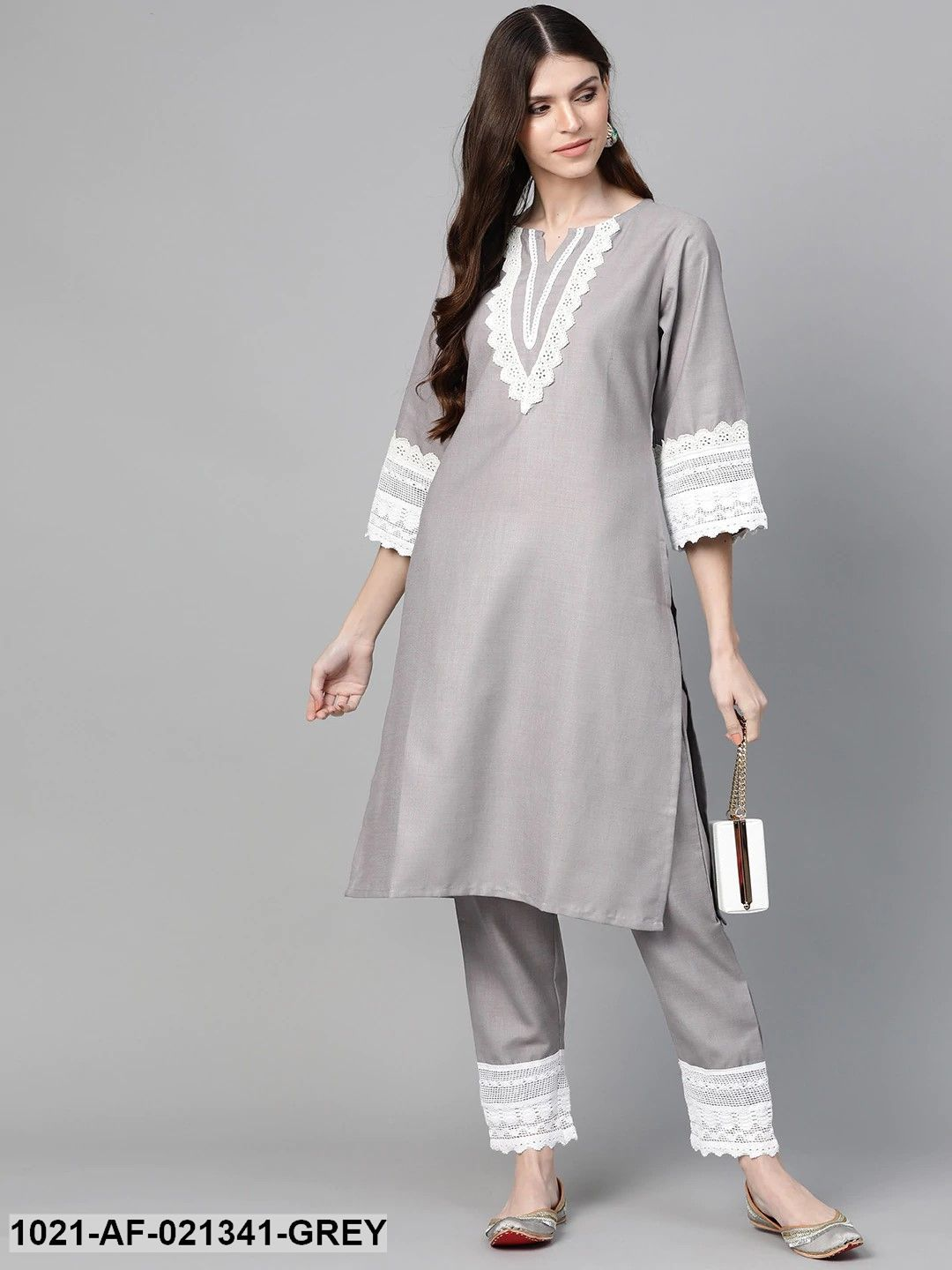 Grey Solid Kurta & Trousers With Lace Insert Detail
