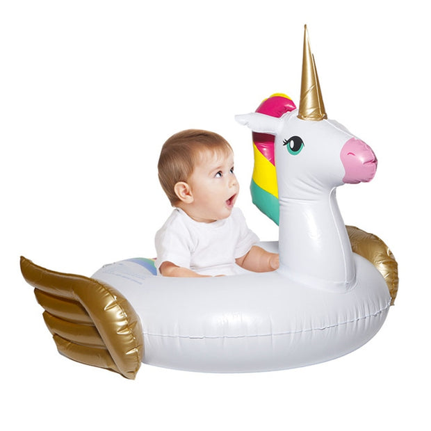 0-3 Years Old Baby Unicorn Inflatable Pool Float 2018 Newest Ride-On Swimming Ring Air Mattress Water Party Toys For Kids Boia
