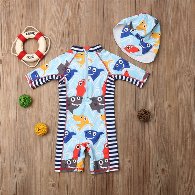 1-6T 2Pcs Kids Baby Boys Girls Rash Guard Sun Protective Surfing Wetsuit Beachwear Swimwear Swimming Cap Outfits Set