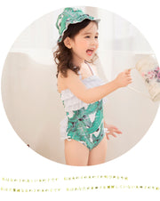 1-9T Summer Children's Swimming Suit With Green Leaf Printing Girls One Pieces Halter Beach Bodysuit Bathing Suit