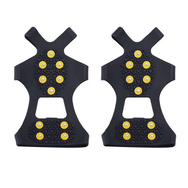 1 Pair 10 Studs M/XL Universal Ice Snow Shoe Spiked Grips Cleats Crampons Winter Climbing Camping Anti Slip Shoes Cover