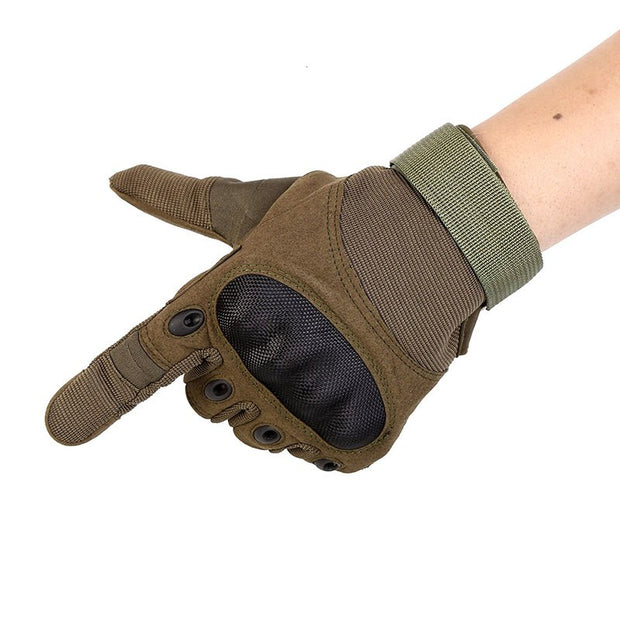 1 Pair Anti-Skid Rubber Hard Knuckle Full Finger Gloves Tactical Military Army Paintball Shooting Combat Gloves