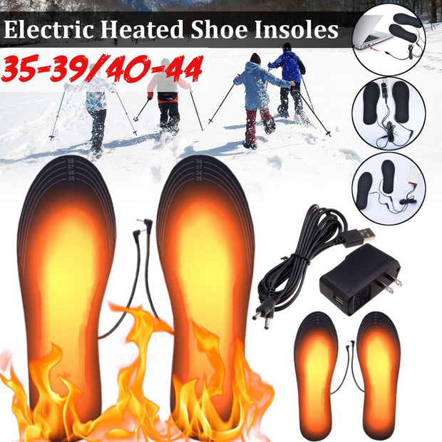 1 Pair Carbon Usb Electric Powered Men Women Heating Insoles Shoe Pad With Charger Winter Keep Warm Foot Shoes Fast Heated