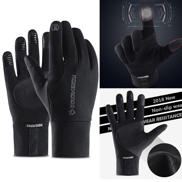 1 Pair Gloves Waterproof Windproof Anti-slip Warm PU For Outdoor Sport Cycling Winter ASD88