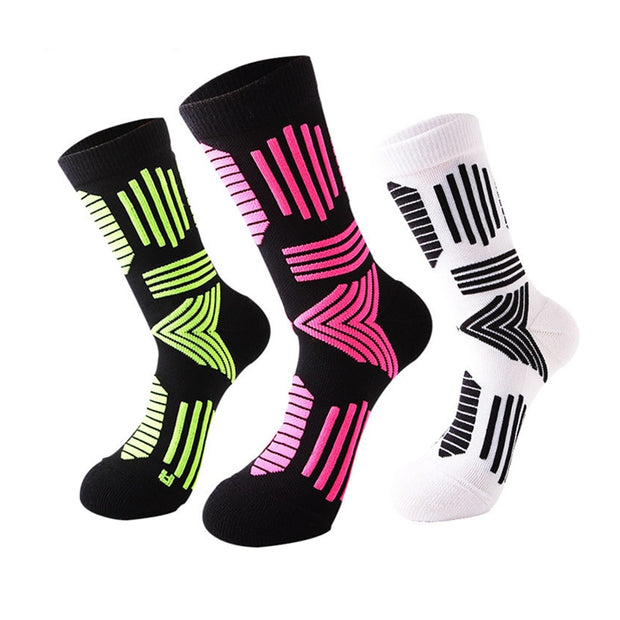 1 Pair Men Elite Basketball Socks Nylon Towel Sole Calf Socks Mositure Wicking Shock Absorption Non Slip For Outdoor Sports
