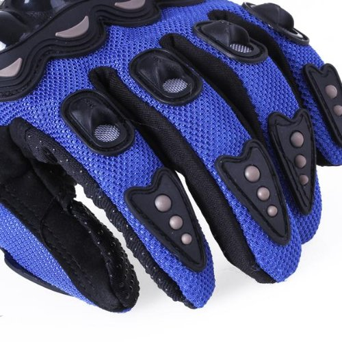1 Pair Motorcycle Gloves Racing Gloves Fiber PU Blue - XL