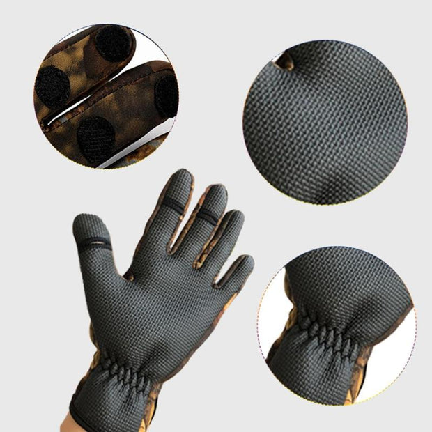 1 Pair Neoprene Silicone Cycling Fishing 3 Half-Finger Anti-Slip Gloves