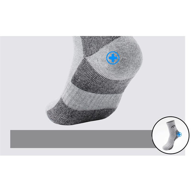 1 Pair Outdoor High Ankle Cotton Socks Elasticity Nonslip Sports Socks Cotton Crew Socks For Women Size M (Light Gray)