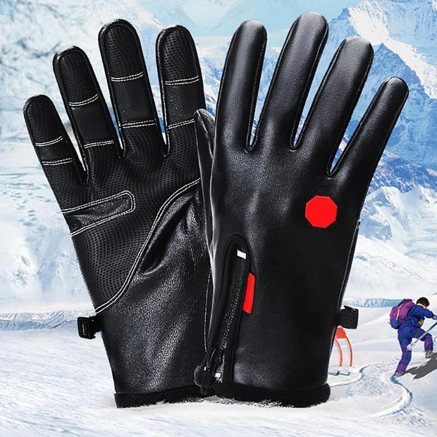 1 Pair Touch Screen Leather Winter Warm Cycling Gloves Waterproof Unisex Zipper Motorcycle Outdoor Sport Ski Snowboard Gloves