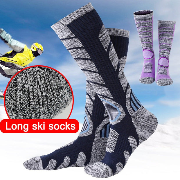 1 Pair Winter Sports Outdoor Knee Height Cycling Thicken Long Warm Ski Sock BB55