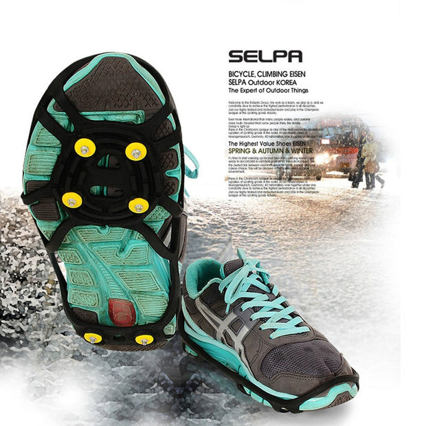 1 Pair Of Non-Slip Shoe Cover Six Tooth Rubber Claw Snow Mountaineering Non-Slip Shoe Cover For Size 250mm-280mm