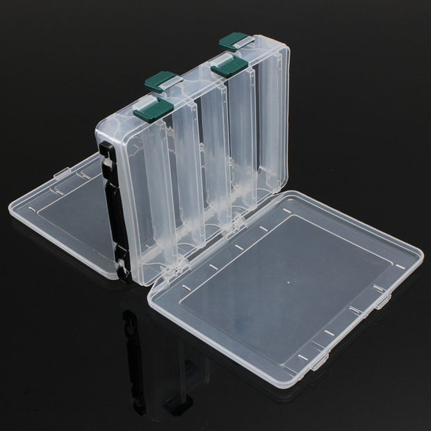 10 Compartments White Plastic Fly Fishing Lure Tackle Box Double Sided High Strength Transparent Visible With Drain Hole 20*17*4