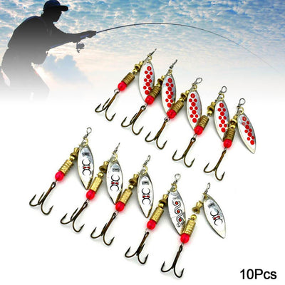 10pcs Spinner Baits Feather Spoons Fishing Lure Metal / Feather Bait 5g 6cm IBK