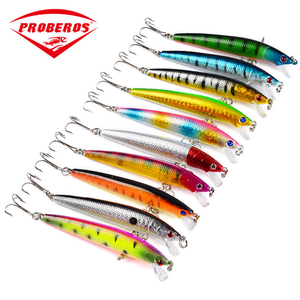 10pcs/lot 3D Eyes Trolling Wobbler Fishing Lures 95mm/7.7g Minnow Plastic Hard Bait Artificial Ocean Boat Fishing Bait Pesca