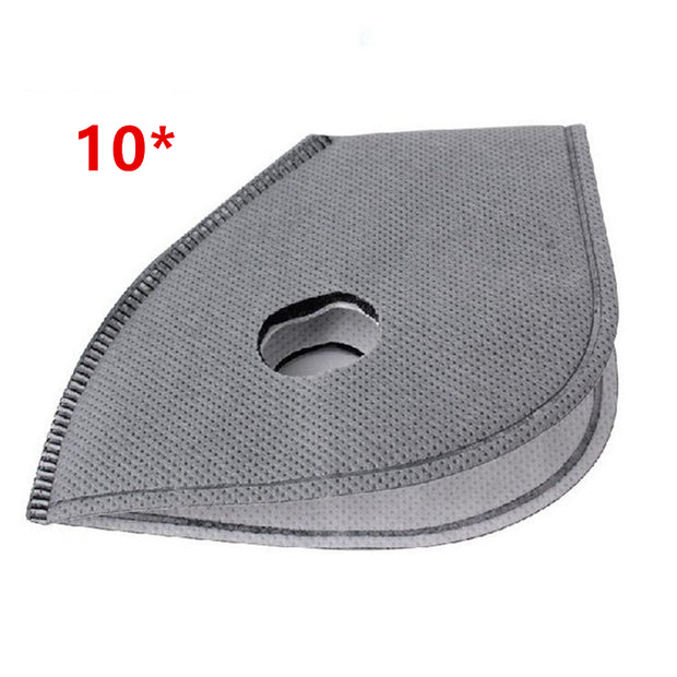 10pcs/lot Activated Carbon Mask Filter PM2.5 Anti-dust Anti Pollution 6 Layer Bike Bicycle Cycling Masks Smog Mask Filter