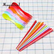12Pcs Plastic Spoon Fork Chopsticks Outdoor Camping Pinic Eating Cutlery Set, Lightweight And Portable