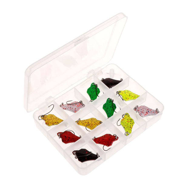 12Pcs/Set Fishing Lure Metal Hard Lure Carp Trout Bait Spoon Sequin 12 Compartments Storage Box Tackle Spinner Accessories