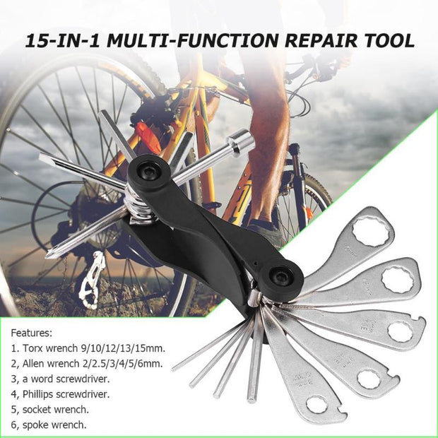 15-in-1 Portable Separated Type Bike Multitool Allen Key Hex Wrench Tool Chain Remover Torx Spanner Hexagonal Screwdriver Z65