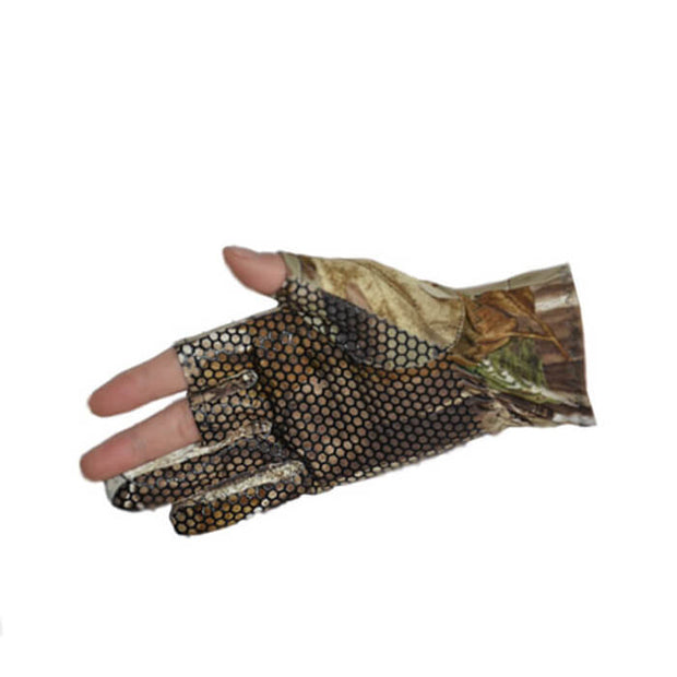 1pair Elastic Camo 3 Low Cut Fingers Fishing Glove Waterproof Skidproof Sun Protection Sunscreen One Size Saltwater Freshwater