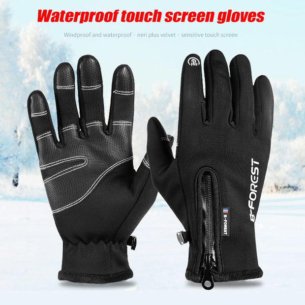 1pair Men Women Winter Cycling Gloves Waterproof Zipper Screen Touching Warm Gloves YS-BUY