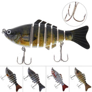 1pcs 10cm 15.4g 7 Segments Crankbait Fishing Lure Crank Bait Fishing Tackle With Hard Structure And 2 Treble Hooks