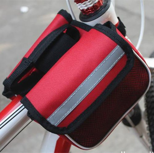 1pcs Bicycle Cycling Bike Frame Pannier Front Tube Bag Pouch Case Double-Saddle Polyster Waterproof Rainproof Bike Bag