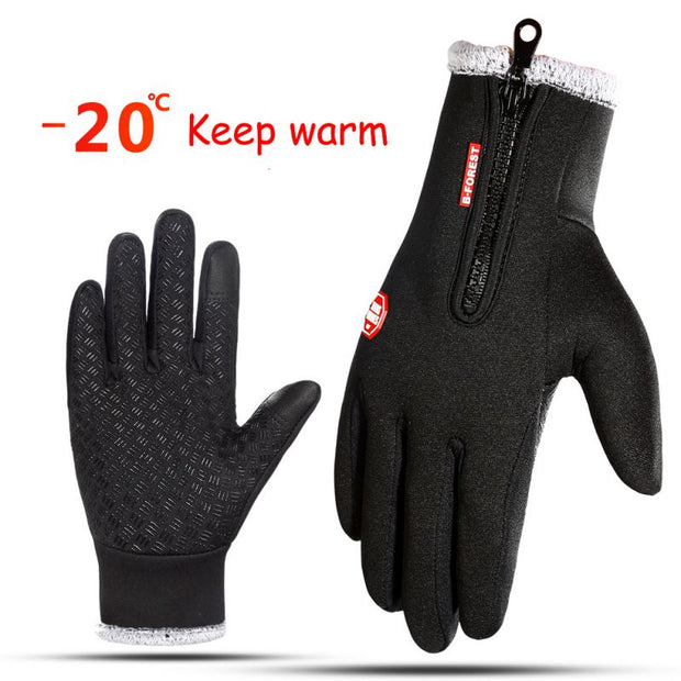 -20 Degree Touchscreen Windproof Thermal Warm Full Finger Zipper Gloves Winter Anti Slip Cycling Skiing Gloves