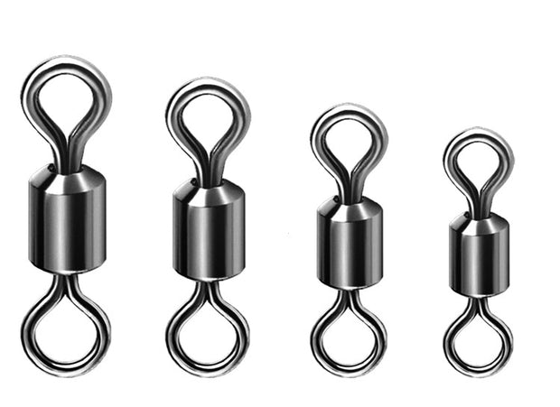 200pcs High Quality Fishing Swivels Ball Bearing Rolling Swivel Solid Rings Hooks Connector Accessories 2# 4# 6# 8# 10# 12#
