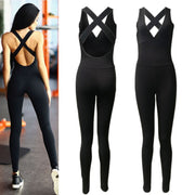 2017 New Women\'s Jumpsuit Sportswear Fitness Stretch Pants Black Women\'s Sleeve Bandages Jumpsuit